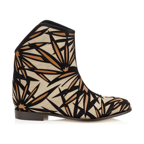 Jimmy Choo Mina flat palm leather appliqué on canvas boots in nude/black/canyon - Perfectly embodying the bohemian 70's vibe with a...