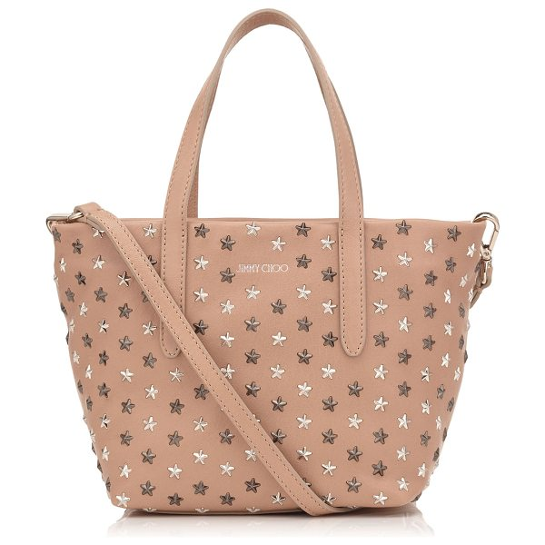Jimmy Choo MINISARA Ballet Pink Leather with Multi Metal Mix Mini Stars Mini Tote Bag in ballet pink/silver gunmetal metallic mix - Minisara is a cute, versatile mini tote bag. Practical...