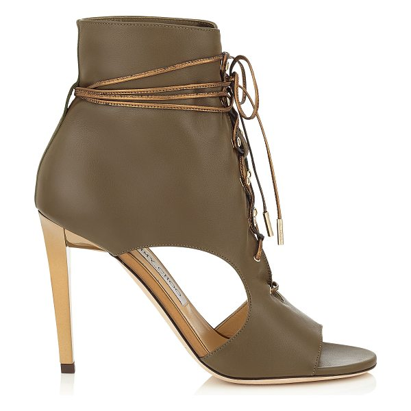 Jimmy Choo Minka 100 moss soft leather and honey gold mirror leather shoe booties in moss/honey gold - These peep toe cut out booties have an edgy attitude....