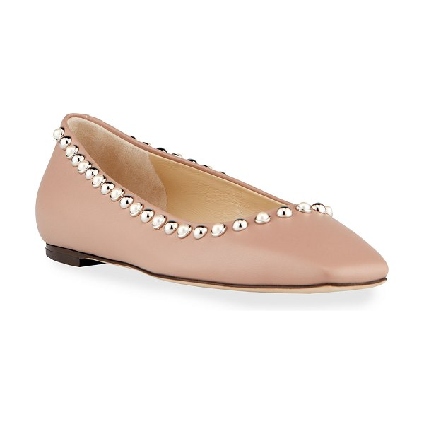 Jimmy Choo Mirele Pearly Stud Ballerina Flats in blush