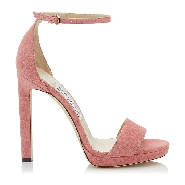 Jimmy Choo MISTY 120 Candyfloss Suede Platform Sandal in candyfloss - Transitional Misty in candyfloss suede is a statement...