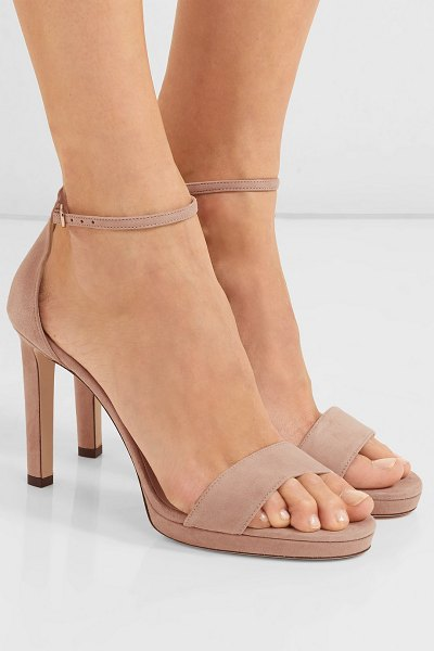 Jimmy Choo misty 100 suede platform sandals in neutral