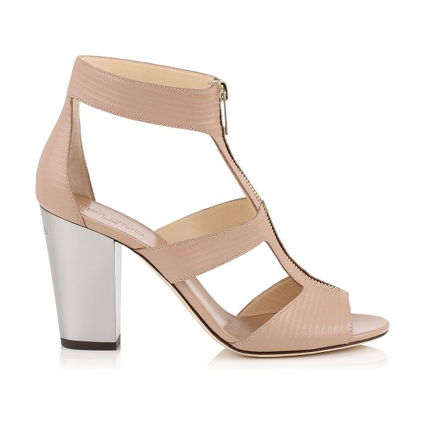 Jimmy Choo Misty 85 ballet pink embossed striped leather chunky heeled sandals in ballet pink - Misty is the perfect transition style to take you...