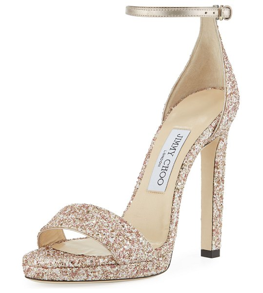 Jimmy Choo Misty Glitter Platform Sandals in rosewood mix