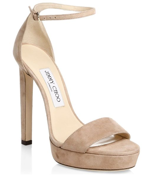 Jimmy Choo misty suede ankle-strap sandals in balletpink - Sleek suede offers timeless element to sandals....