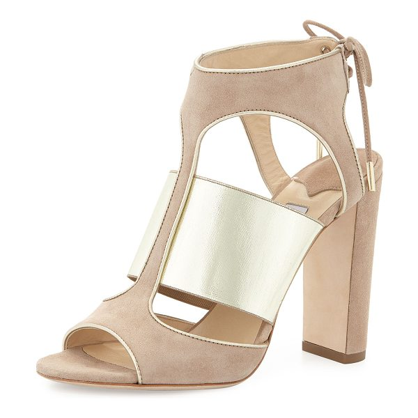 "Jimmy Choo Moira suede ankle-tie sandal in nude/champagne - Jimmy Choo suede sandal with metallic leather trim. 4""..."