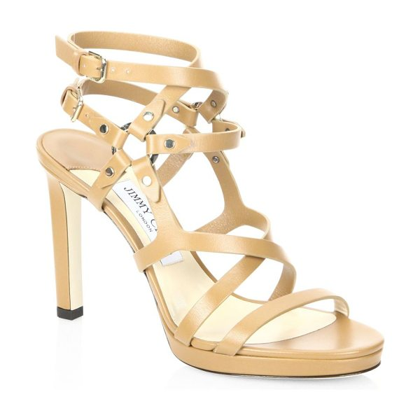 Jimmy Choo monica leather sandals in cuoio light gold - Caged leather sandal with studded harness-style straps....