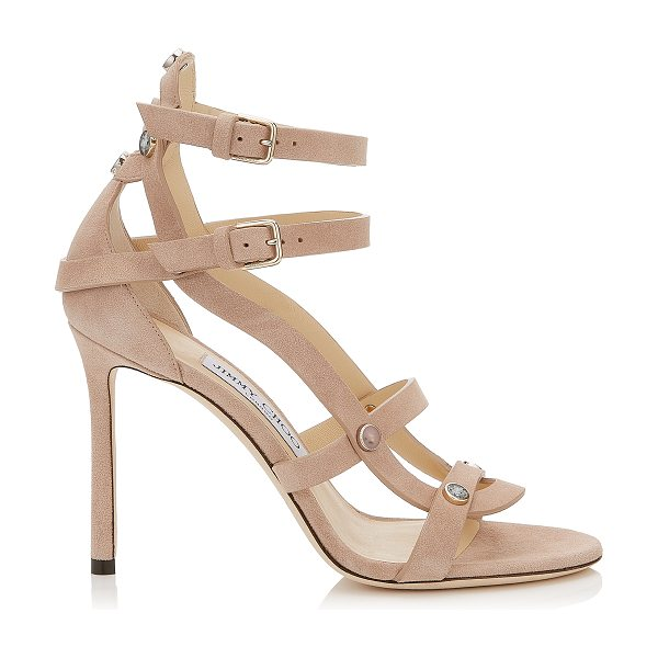 JIMMY CHOO MOTOKO 100 Ballet Pink Suede Sandals with Stone Effect Studs in ballet pink/ballet pink mix - The caged sandal Motoko in ballet pink suede with stone...