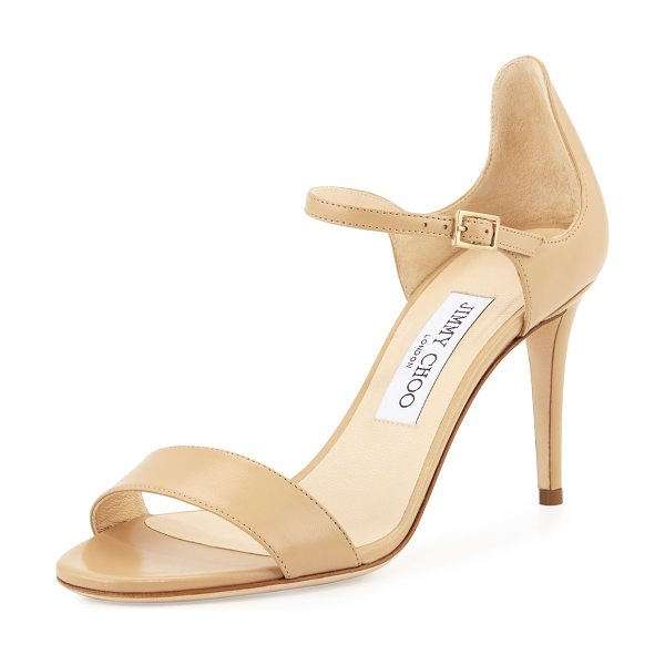 "Jimmy Choo Moxy 85mm leather sandal in nude - Jimmy Choo kid leather sandal. 3. 3"" covered heel. Strap..."