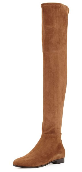 "JIMMY CHOO Myren Stretch-Suede Over-the-Knee Boot - Jimmy Choo stretch-suede over-the-knee boot. 1"" flat..."
