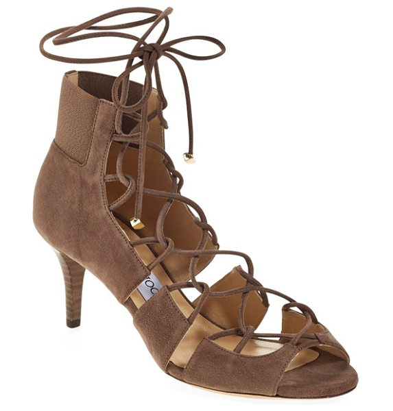 Jimmy Choo myrtle laced leather bootie in taupe - Leather laces crisscross on this foot-flattering bootie...