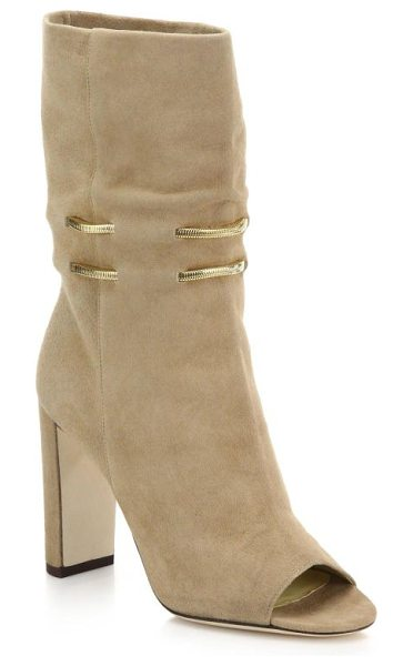 JIMMY CHOO Mysen suede open-toe booties - A 70's-inspired sandal bootie crafted in a relaxed,...