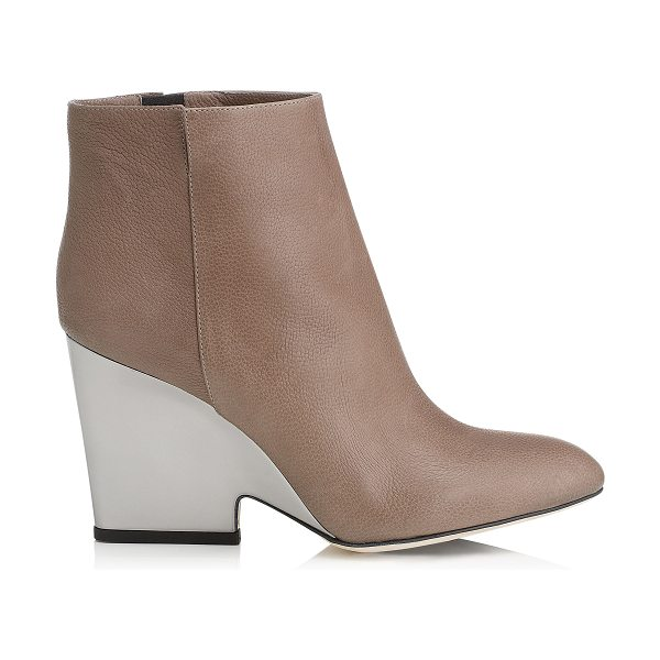Jimmy Choo Myth 90 mink soft grained leather wedged ankle boots in mink - An easy to wear boot combining fashion with...