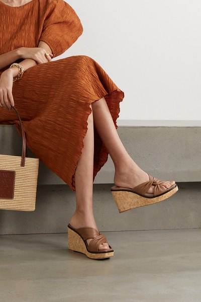 Jimmy Choo narisa 90 knotted leather wedge sandals in tan