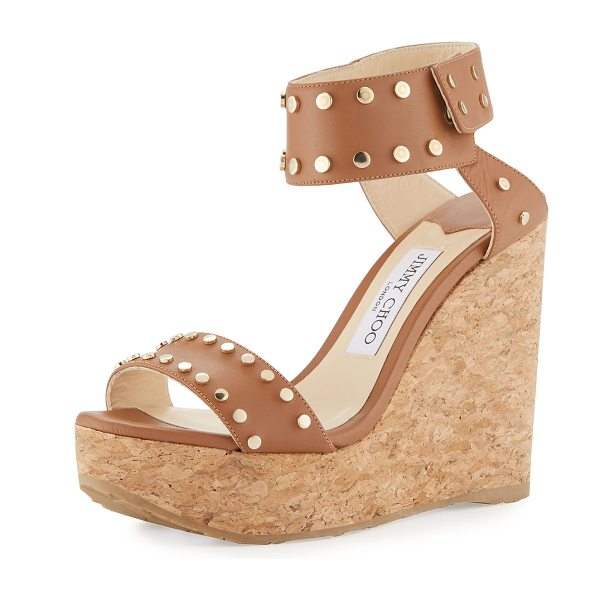 """Jimmy Choo Nelly Studded Cork Wedge Sandals in brown - Jimmy Choo leather sandal with golden studded trim. 4.7""""..."""
