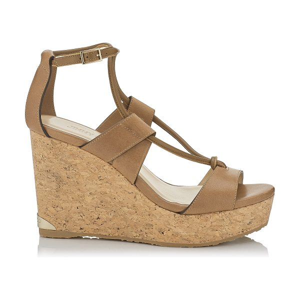 JIMMY CHOO NELSON 100 Tan Vacchetta Leather Cork Wedges in tan - These strappy sandals are effortlessly chic and the...