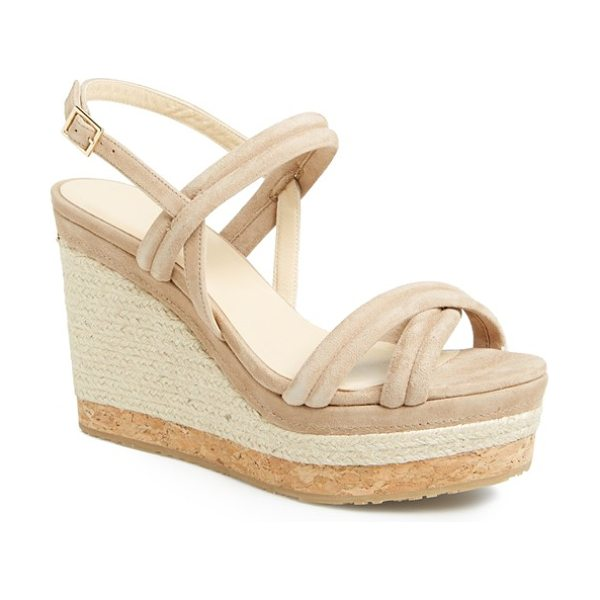Jimmy Choo nomad sandal in nude - Smooth suede straps refine an eye-catching espadrille...