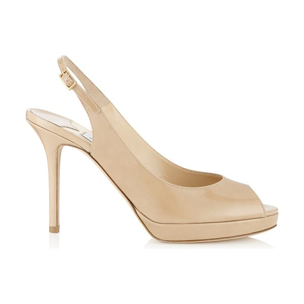 Jimmy Choo NOVA Nude Patent Platform Peep Toe Sandals in nude - These nude sling back sandals are a house favourite at...