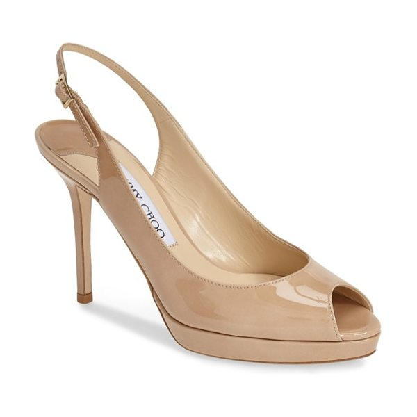 Jimmy Choo nova patent leather slingback pump in nude patent - Gorgeous, glossy patent leather shapes a peep-toe...