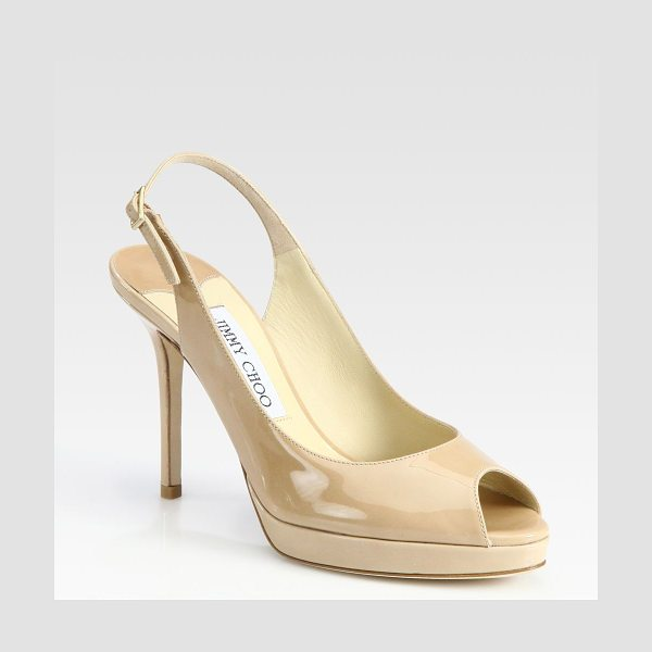 Jimmy Choo nova 100 patent leather slingbacks in nude - From the 24:7 Collection. High shine, high style, a...