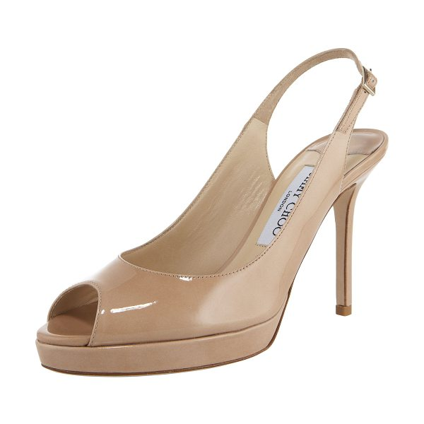"Jimmy Choo Nova Peep-Toe Patent Slingback in nude - Peep-toe sits atop 5/8"" platform. Petite buckle adjusts..."