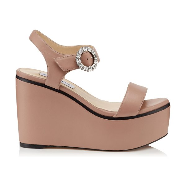 Jimmy Choo NYLAH 100 Ballet Pink Nappa Leather Wedge Sandals with Crystal Buckle in ballet pink/crystal - Instantly elevate your look with the Nylah wedge sandal...