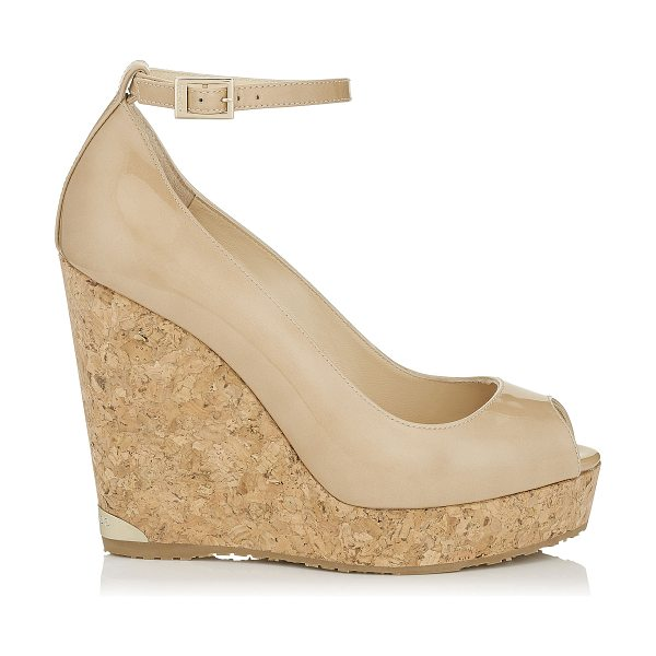 Jimmy Choo PACIFIC 120 Nude Patent Leather Cork Wedges in nude
