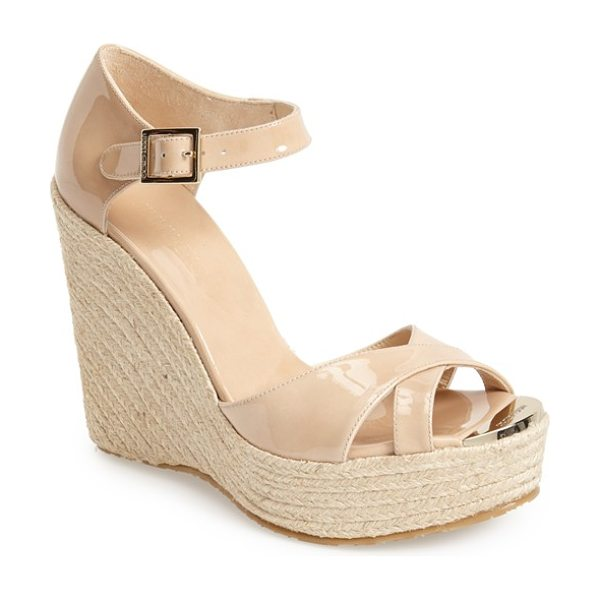 Jimmy Choo pallis wedge sandal in nude - Glossy patent straps perfectly contrast the rough-hewn...