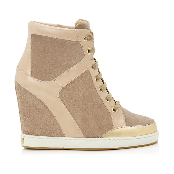Jimmy Choo Panama nude suede and patent wedge sneakers in nude - Wedge sneakers continue to be at the top of the style...