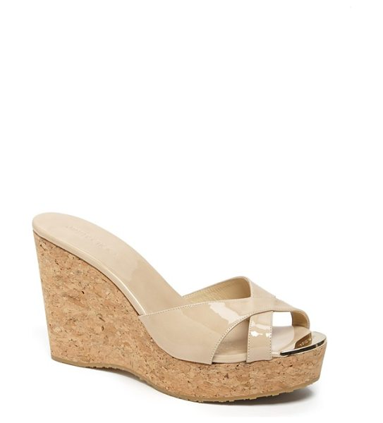 Jimmy Choo pandora cork wedge sandal in nude - A golden logo plate gilds the toe of an elegant slide...