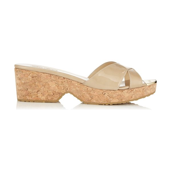Jimmy Choo PANNA Nude Patent Leather Wedge Sandals in nude - These sixties inspired slip on sandals are an effortless...