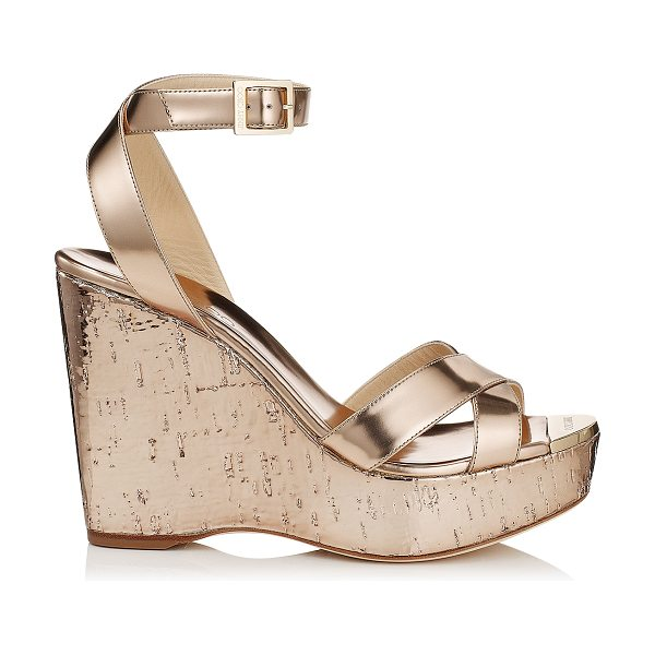 Jimmy Choo Papyrus nude mirror leather and metallic cork wedges in nude - Slip on by the pool with a kaftan or wear after dark...
