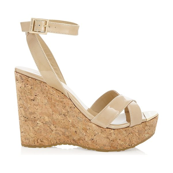 Jimmy Choo Papyrus nude patent cork wedge sandals in nude - Slip on by the pool with a kaftan or wear after dark...