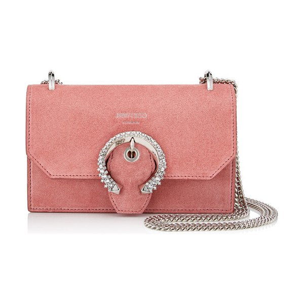 Jimmy Choo PARIS Candyfloss Suede Mini Bag with Crystal Buckle in candyfloss