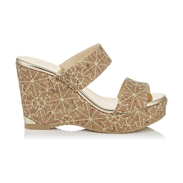 JIMMY CHOO PARKER 100 Gold Embroidered Stars on Cork Wedges - A versatile, easy to wear two piece slip on summer wedge...