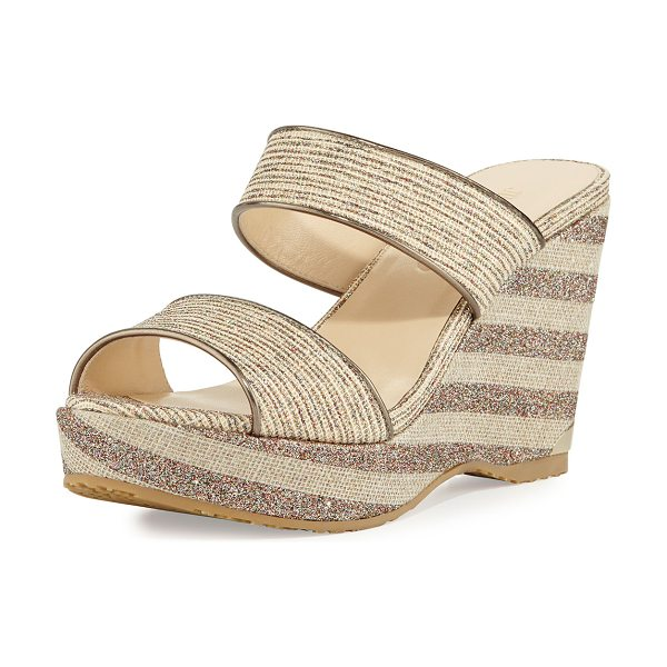 "JIMMY CHOO Parker Striped 100mm Wedge Sandal in beige - Jimmy Choo canvas sandal with glitter stripes. 4"" wedge..."