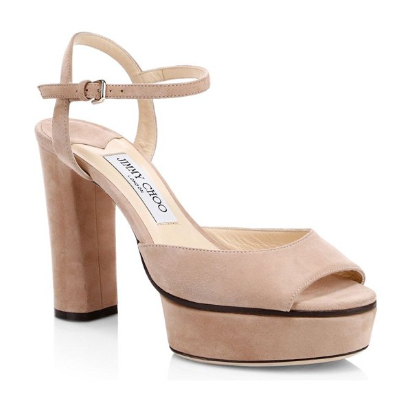 Jimmy Choo peachy suede platform sandals in balletpink - Towering platform sandals crafted in suede and flaunting...