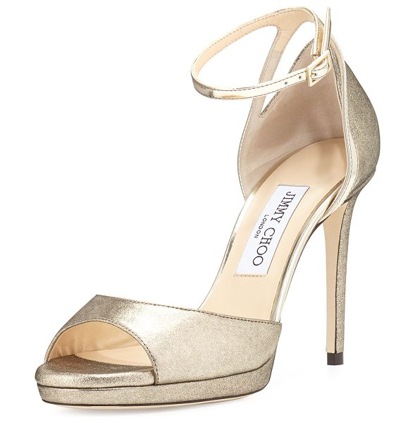 Jimmy Choo Pearl Leather 100mm Sandal in champagne/gold