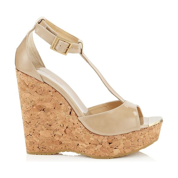 JIMMY CHOO PELA Nude Patent Leather Wedge Sandals - Pela cork wedge sandals are all you need to add a dash...