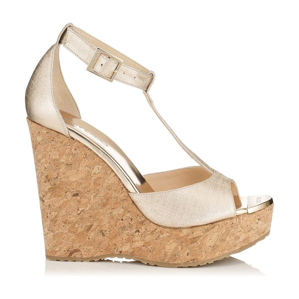 JIMMY CHOO Pela champagne textured leather cork wedges - Pela cork wedge sandals are all you need to add a dash...