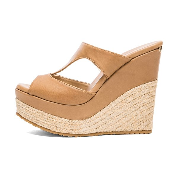 Jimmy Choo Pledge leather wedges in neutrals - Leather upper with rubber sole.  Made in Spain.  Approx...
