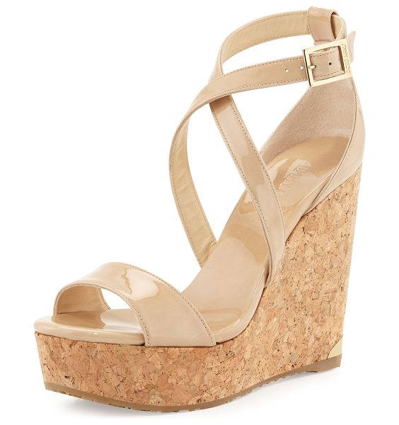 "Jimmy Choo Portia Crisscross Platform Wedge Sandal in nude - Jimmy Choo patent leather sandal. 4.8"" cork wedge heel..."