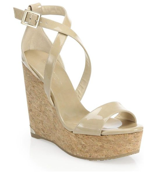 Jimmy Choo portia 120 patent leather & cork platform wedge sandals in beige - Sleek crisscross sandal set on chunky cork platform....