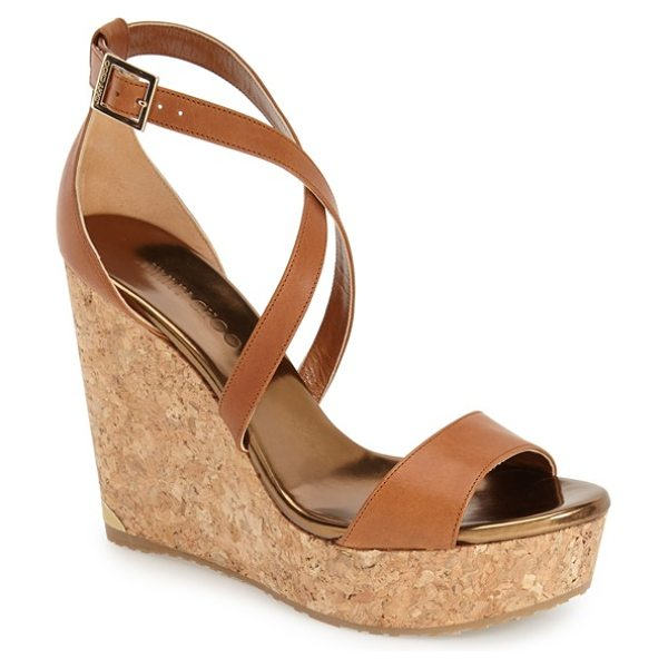 Jimmy Choo 'portia' platform wedge in nude - A chic two-piece construction with crisscross straps...