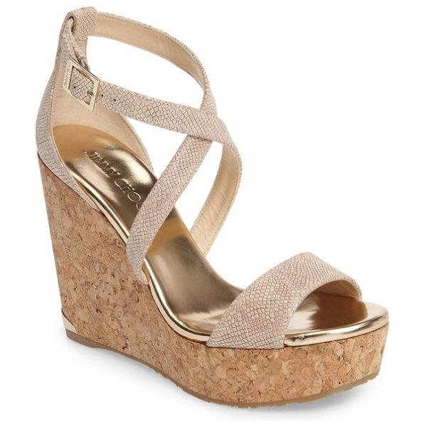 Jimmy Choo 'portia' platform wedge in nude leather - A chic two-piece construction with crisscross straps...