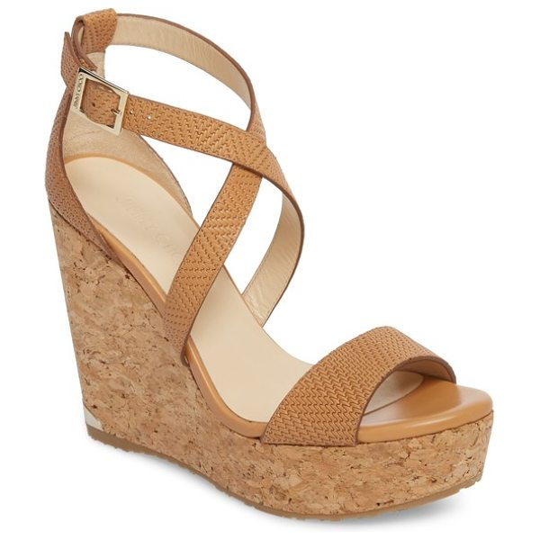 Jimmy Choo 'portia' platform wedge in tan - A chic two-piece construction with crisscross straps...