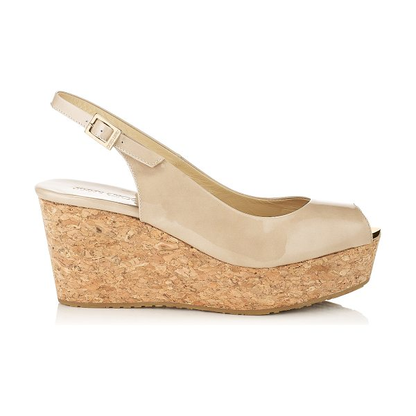 JIMMY CHOO PRAISE Nude Patent Leather Sling Back Peep Toe Wedges - The peep toe Praise cork wedge in nude patent leather,...