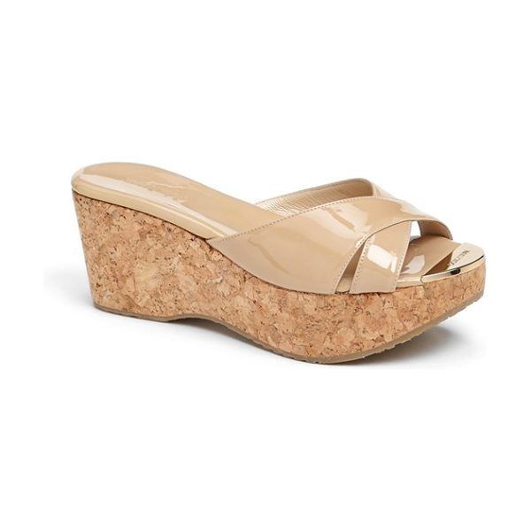 Jimmy Choo 'prima' cork platform sandal in nude - An earthy cork wedge provides chic textural...