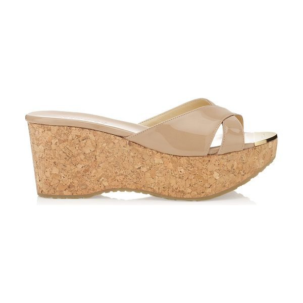 JIMMY CHOO PRIMA Nude Patent Leather Wedge Sandals - Slip a kaftan over your bikini and put on these chic...