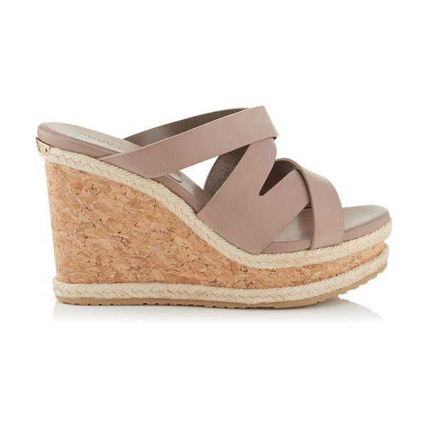 Jimmy Choo Prisma 100 mink vachetta leather cork wedges in mink - A versatile, easy to wear slip on summer wedge with an...